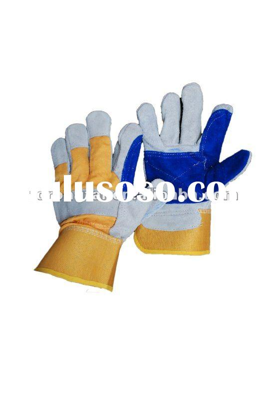 "10.5"" AB grade double palm cow split leather safety gloves"