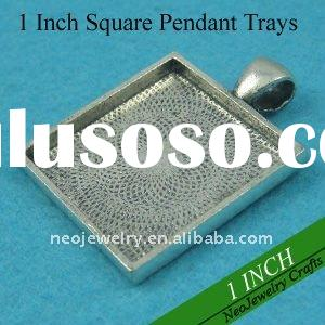 1 Inch Antique Silver Alloy Pendant Trays, Pendant Blanks, Pendant Bases, Pendant Settings For Caboc