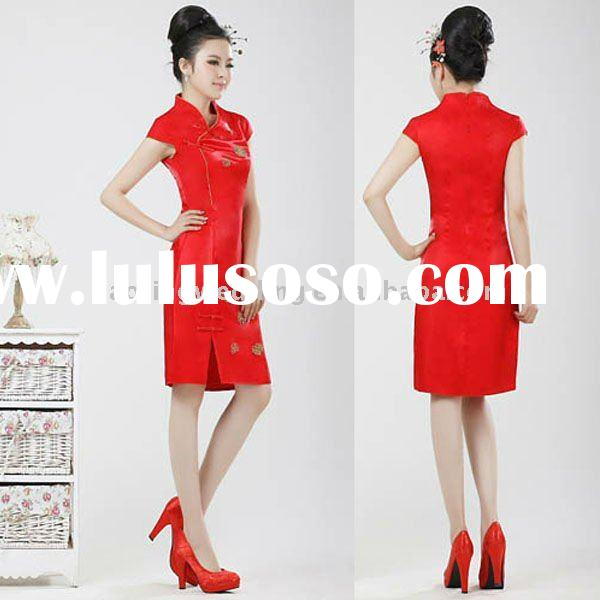 2011 Fashion cheongsam Prom Dresses Q22,Brocade,Red Prom Dresses