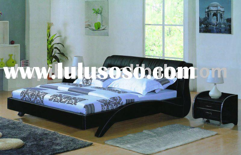 2011 modern bedroom furniture fabric full size single double soft bed sets V9038