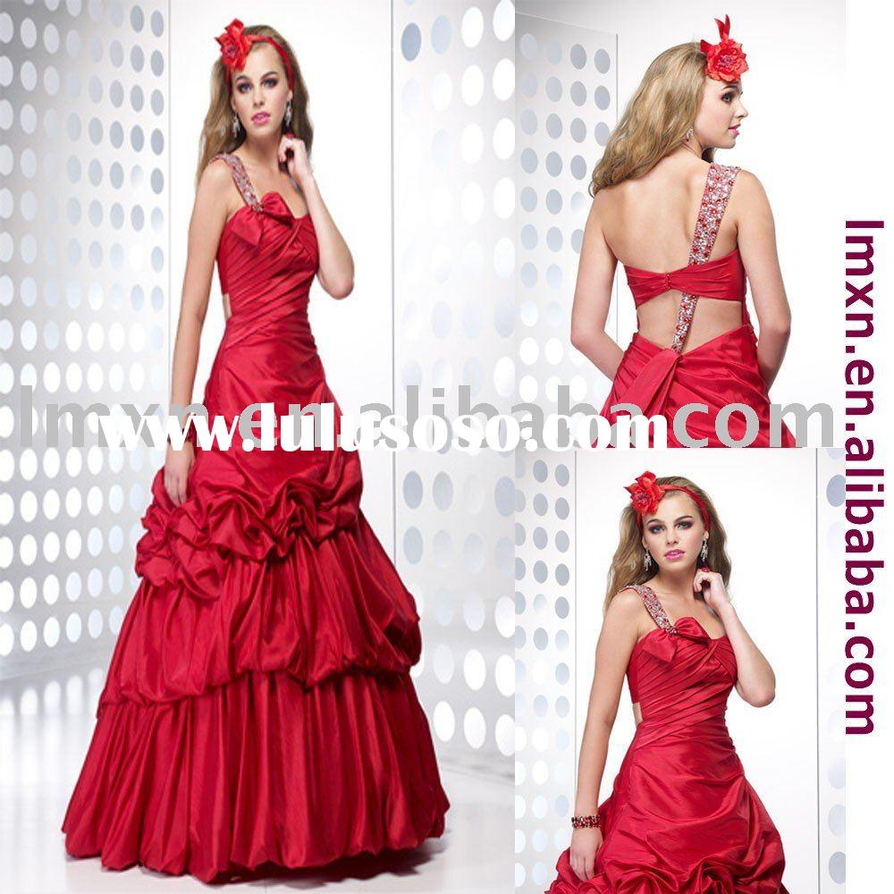 2011 one-shoulder red beading prom dress gown