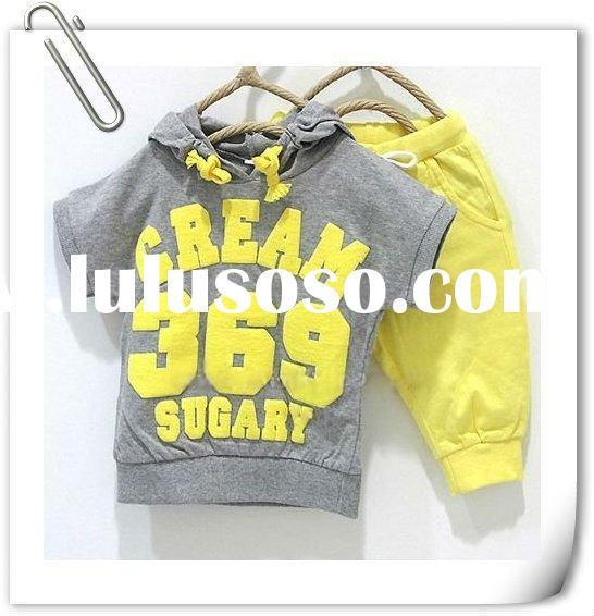 2012 Baby suits girls boys cream 369 short sleeve hoodies pants 2pcs clothing set children yellow re