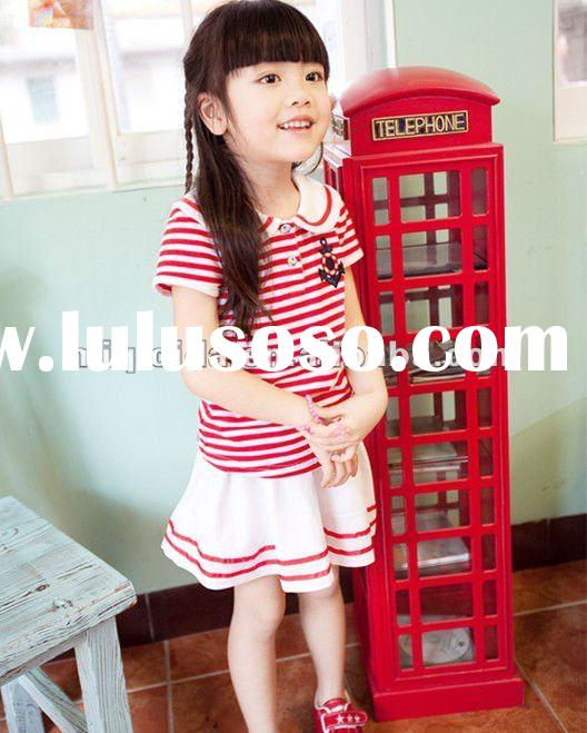 2012 New High Quality Baby Clothes /cute short sleeve kids stripe dresses /Korean Style summer Dress