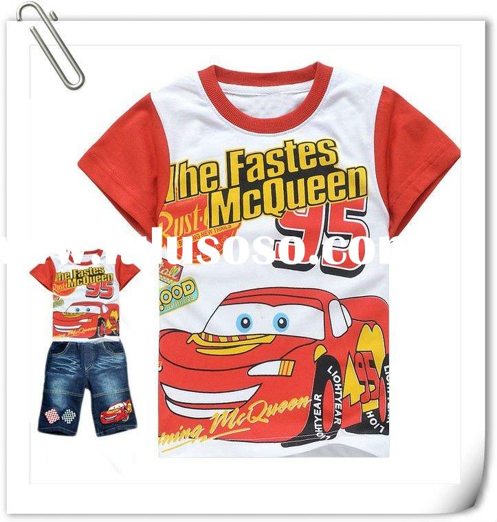 2012 New design!! Free shipping baby boys cartoon clothing sets short sleeves cars T-shirt+short jea