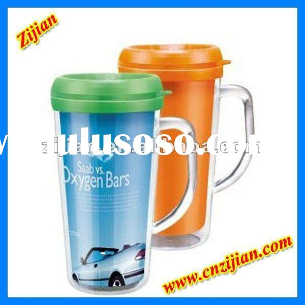 2012 Newest Double Wall Plastic Travel Mug With Paper Insert