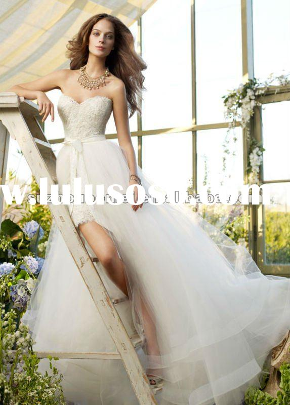 2012 Vintage modern sweetheart long skirt short wedding dress Bridal a line Gowns lace&tulle Wed