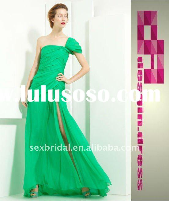 2012 fashion stylish green oscar crinkled chiffon one shoulder evening dress prom gown DC-BM18131