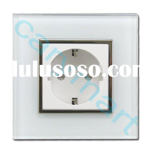 2 Pin European electrical outlet wall sockets plugs with crystal glass panel