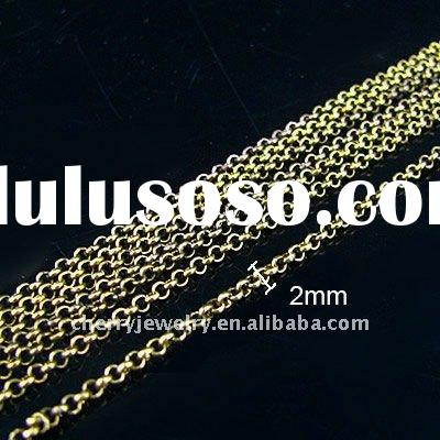 2mm link chain rose gold plated jewelry chain necklace chain jewelry accessories 10m free shipping L