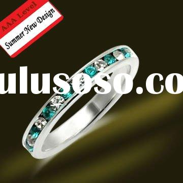 925 Sterling Silver Copper Accessories Ring with colorful gemstone jewelry
