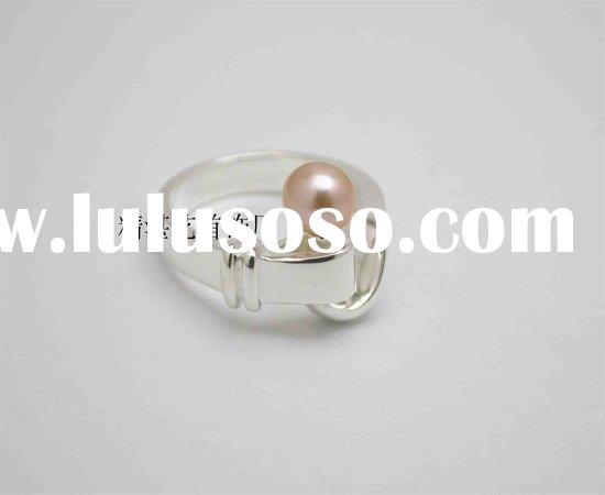 925 sterling silver ring with real pearl setting