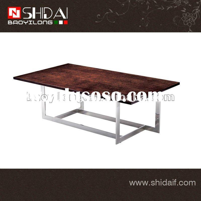 American style long wood coffee table with stainless steel leg TA92L