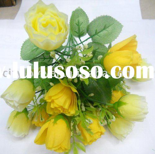 Artificial flower/artificial plant--fresh yellow silk rose