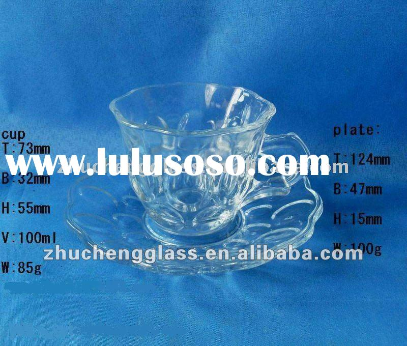 BD011 funny glass cup and plate for coffee and tea/tea cup and saucer