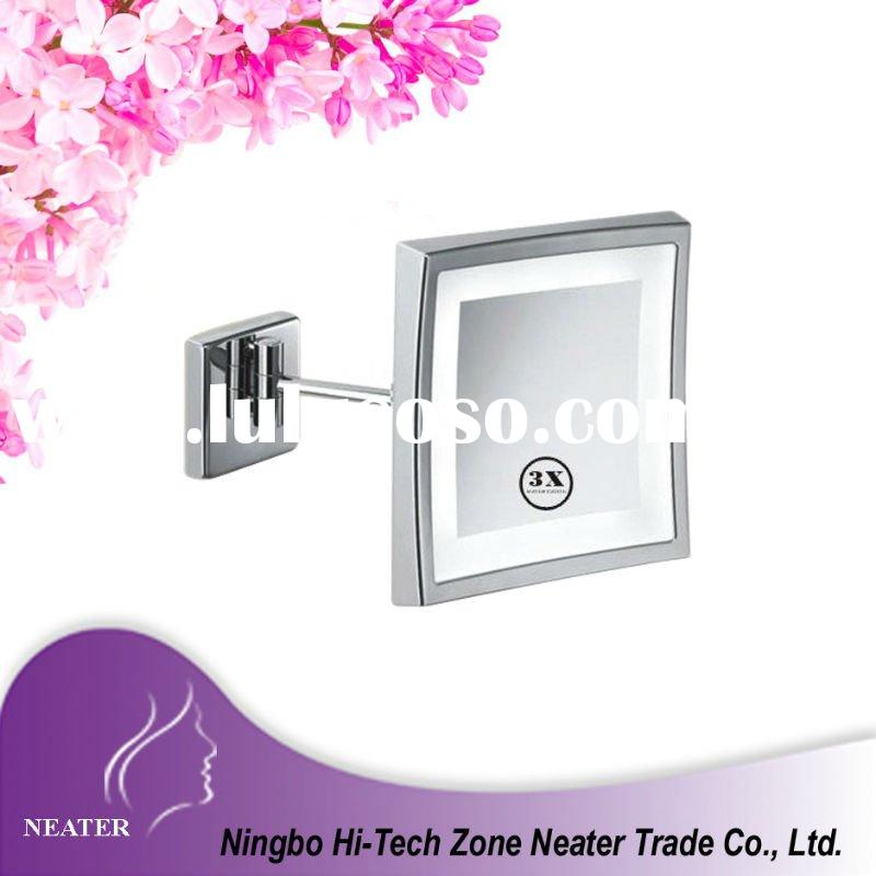 Bathroom square wall mounted bath mirror lighted makeup mirror with led light