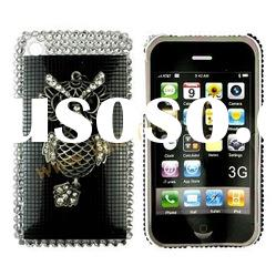 Black Shiny Owl With Metal Luster Rhinestone Hard Cover for Apple iPhone 3GS iPhone 3G