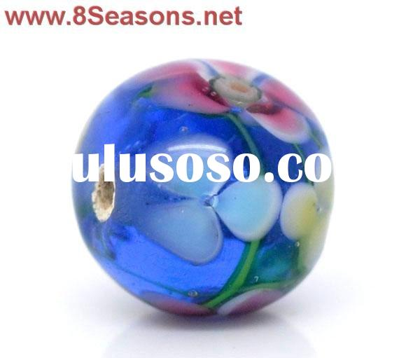 Blue Flower Glass Lampwork Beads 13x12mm(Small Hole), sold per packet of 20