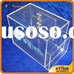 Clear acrylic money box/acrylic coin box with lock