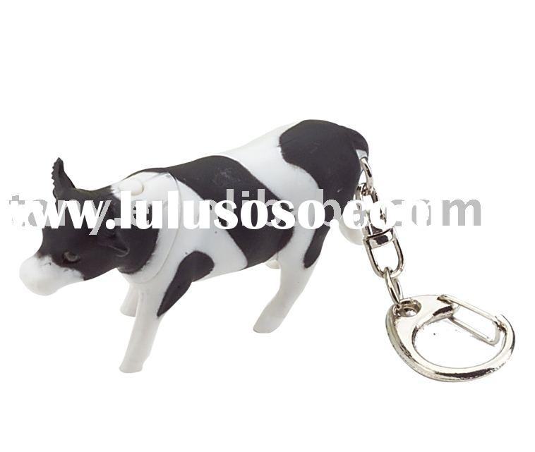 Cow shaped LED key chain with sound(key ring,mini torch key chain)