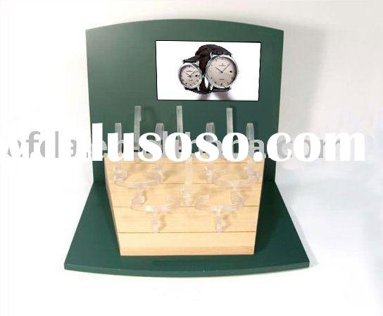 Custom wood watch display case with LCD video player integrated