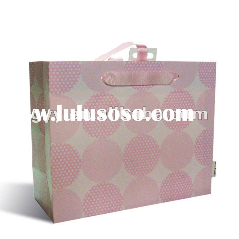 Customize Pink gift paper bag with ribbon handle