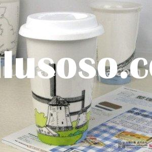 Double wall ceramic cup with silicone lid,Hot sales! HFTCK1
