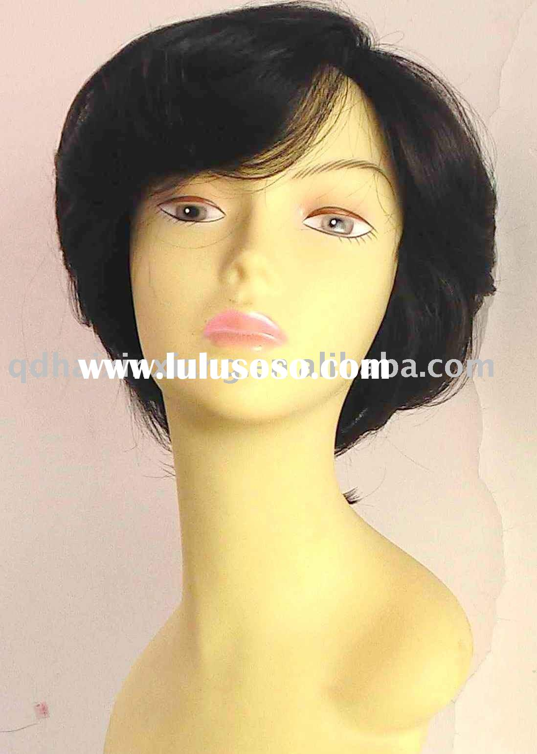 Fashion ladies` 100% real human hair wigs, weft wigs