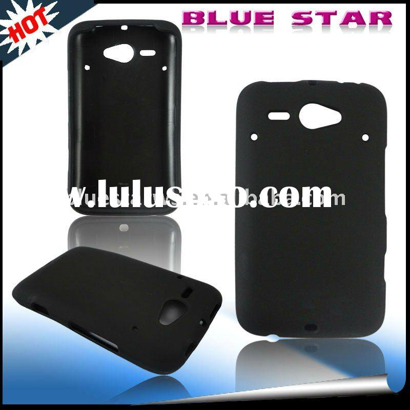 For HTC Chacha black rubberized cell phone Protector Snap On Cover Case