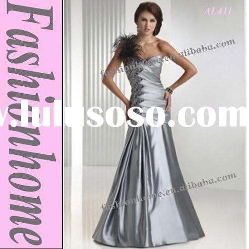 Free shipping AL411 Evening lady dress with one shoulder, silver lady garment, Formal party dress