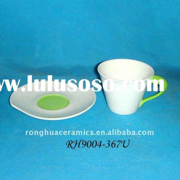 Huaide RH9004L-367U Porcelain White And Green Silicone Fancy Tea Cup and Saucer