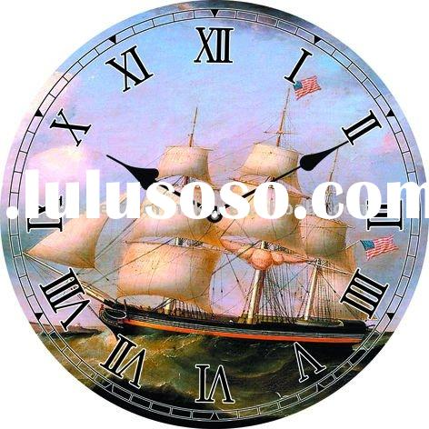 MDF Wood Quartz Wall Clock Sailing Boat & Ocean Print