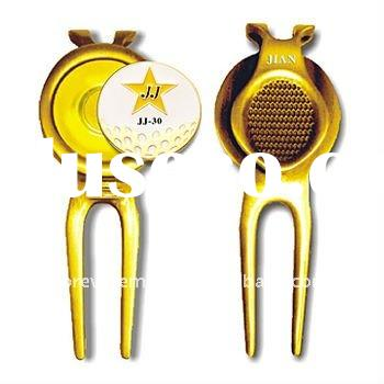 Metal Magnetic Golf divot repair tool with ball marker