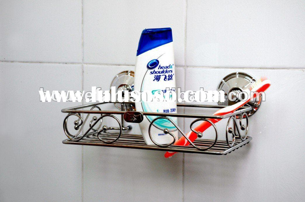 Metal suction cup holder for bathroom accessories