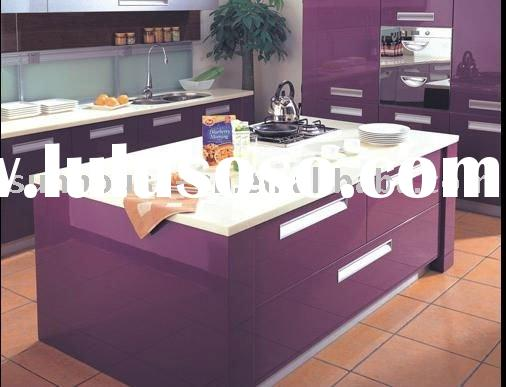 Modern design purple color MDF board high gloss baked paint kitchen cabinets