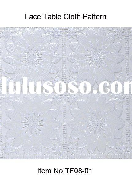 PVC Embossed White Lace Table Cloth, tablecloth
