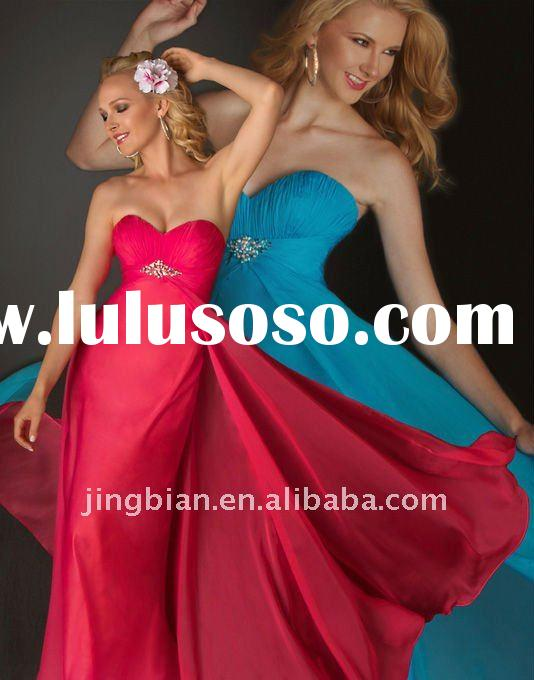 Pageant inspired Prom Gown with A rhinestone cluster Famous Designer Simple Turquoise Evening Dress