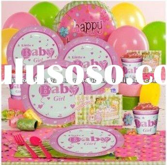 Pink Baby Shower Partyware- Includes baby shower decorations, baby shower favors, baby shower invita