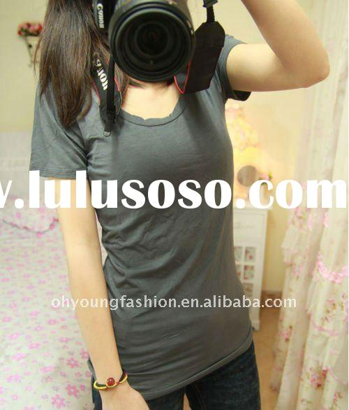 Promotional low price customized womens cotton spandex o-neck blank underwear short sleeve t shirt