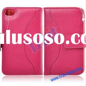 Purse Style Magnetic Flip luxury leather case for iphone 4 with Card Slot