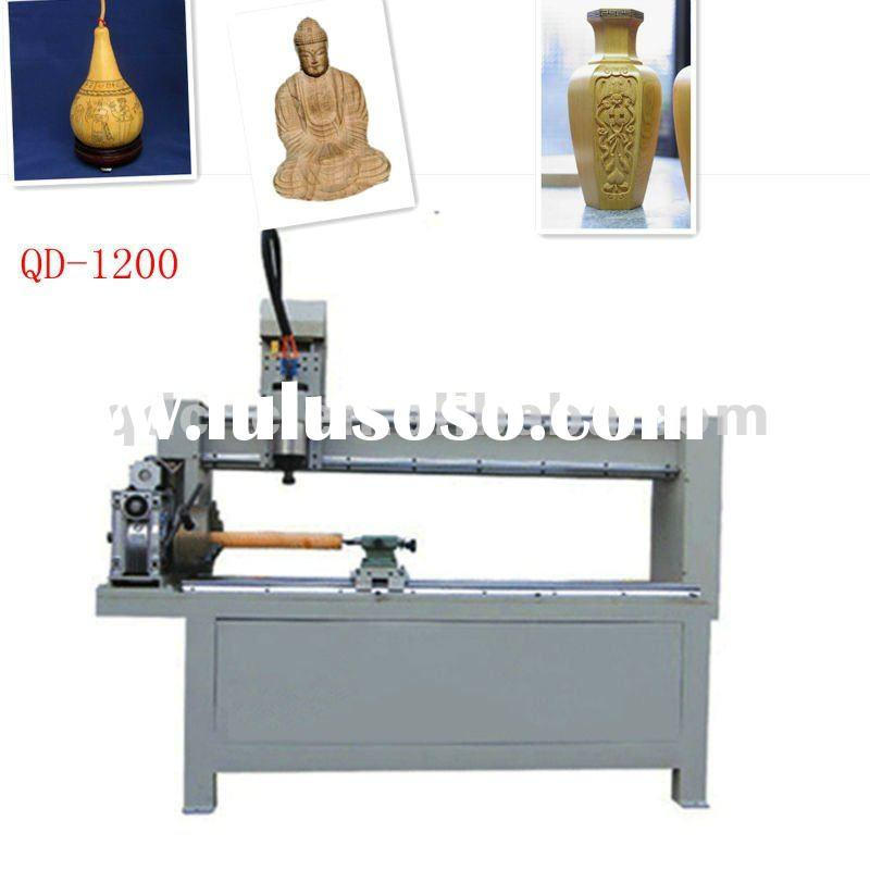 QD-1200 hobby wood cnc engraving machine/ cnc wood 3D router with Rotary axis for Cylinder