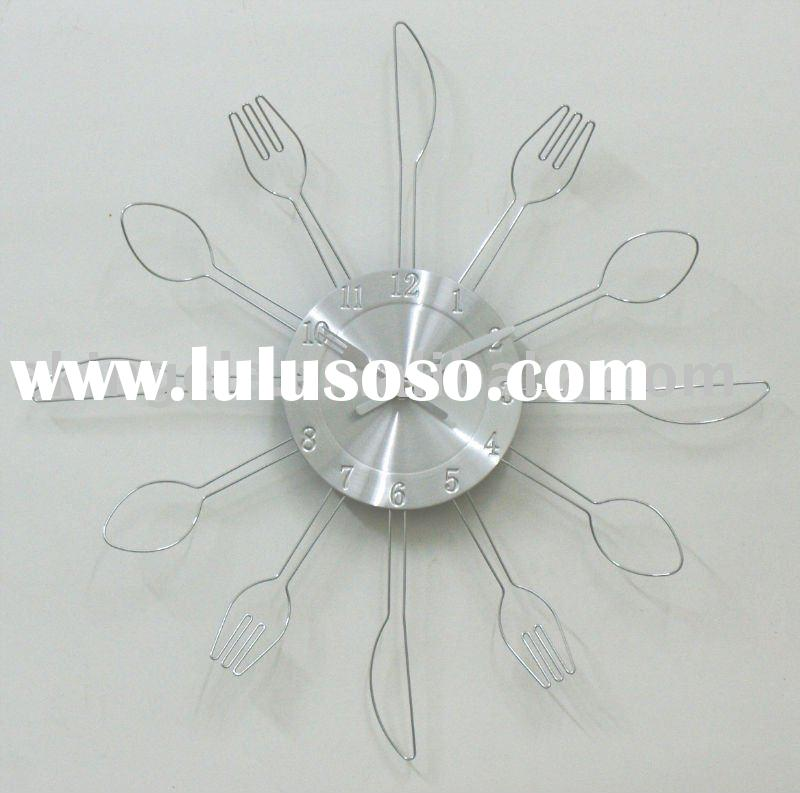 Stainless steel knife and spoon modern wall clock