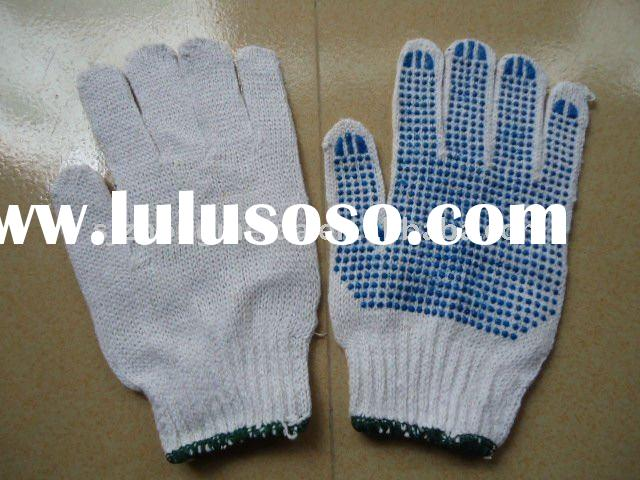 White Cotton working gloves with pvc dots/cotton&polyester glove/cheap cotton pvc dots glove