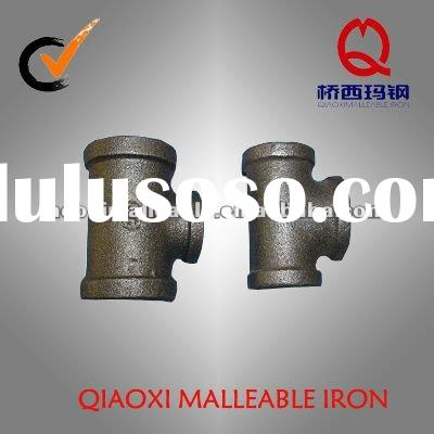 banded black malleable cast iron pipe fitting tee