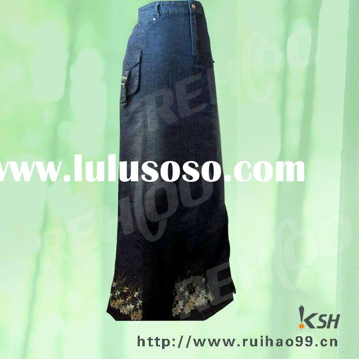 cargo pocket long denim skirt for islamic people