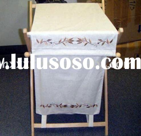 cloth bag with Embroidered cotton Laundry hamper frame