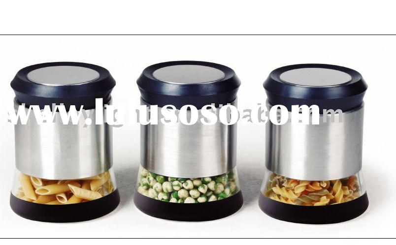 glass jar with stainless steel casing