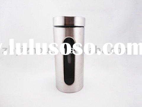 glass jar with stainless steel casing and screw lid