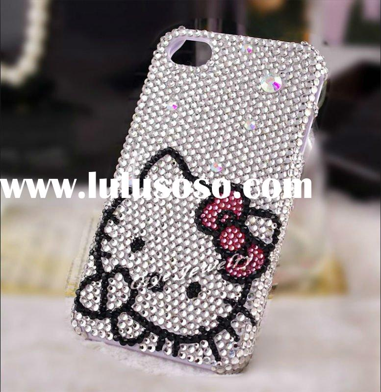 hello kitty rhinestone crystal cell phone case for iphone 4/4s diamond bling phone case for iphone 4