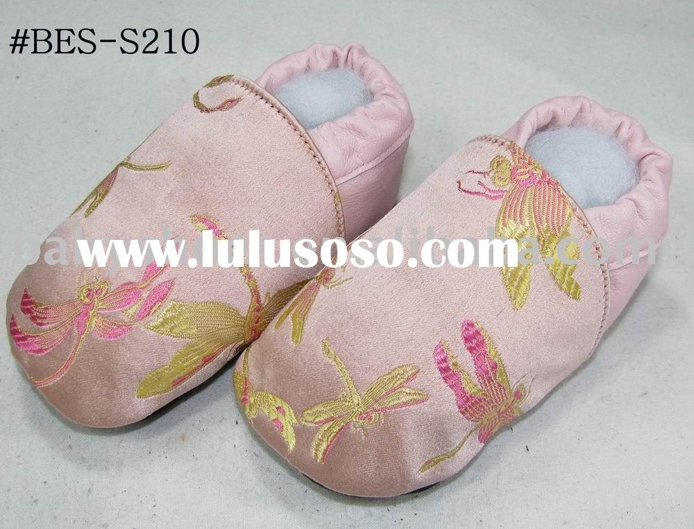 light pink classic soft sole silk baby shoes