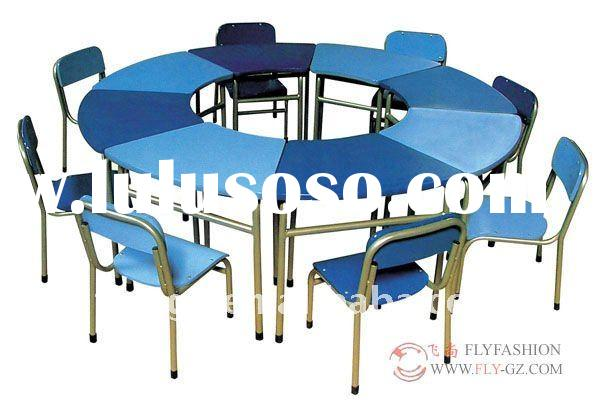 round table and chair set/kids study table with chair/kindergarten study desk